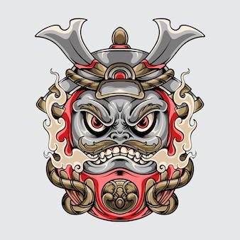 Daruma samurai arte vettoriale