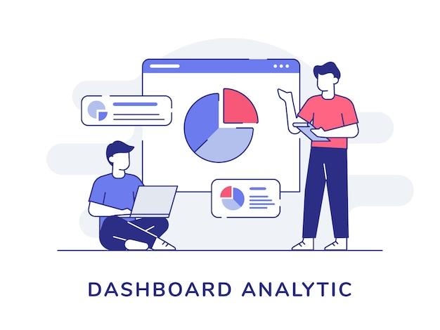 Collaborazione degli uomini del carattere analitico del cruscotto che analizza il grafico di statistica con lo stile del profilo