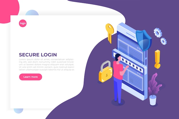 Accesso ai dati, concetto isometrico della password. modulo di accesso sullo schermo.