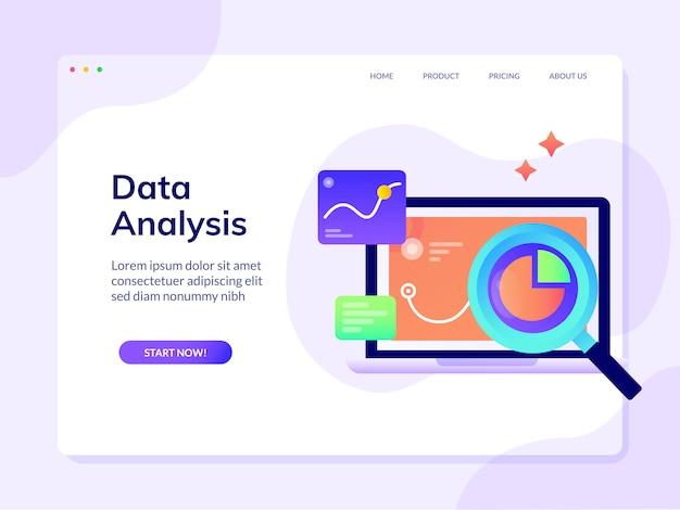 Modello di pagina di destinazione del sito web di analisi dei dati