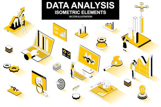 Elementi di linea isometrica 3d di analisi dei dati