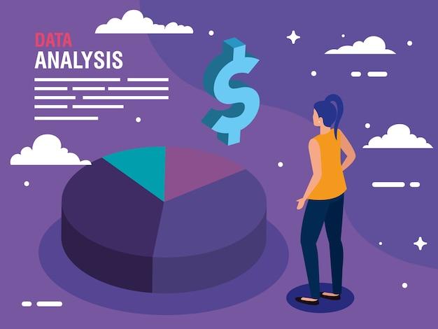 Icona del dollaro del grafico a torta di analisi dei dati e design della donna, tema delle informazioni