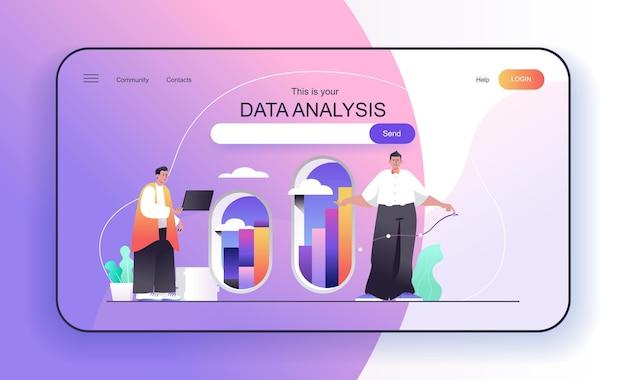 Il concetto di analisi dei dati per gli analisti della pagina di destinazione analizza le statistiche analitiche finanziarie