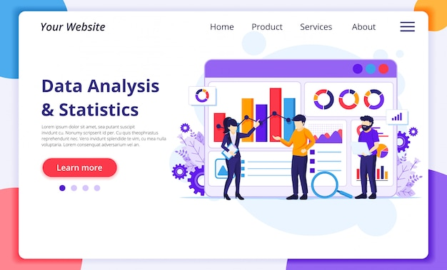 Concetto di analisi dei dati, le persone lavorano davanti a un grande schermo. auditing e analisi. modello di pagina di destinazione del sito web