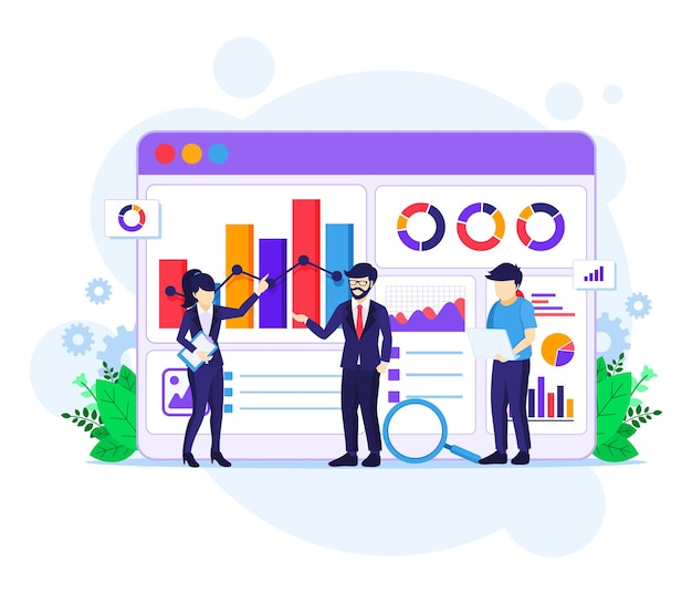 Concetto di analisi dei dati, le persone lavorano davanti a un grande schermo. revisione contabile, illustrazione di consulenza finanziaria