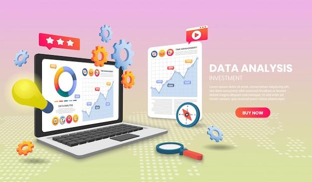 Concetto di analisi dei dati con il computer portatile. illustrazione vettoriale 3d
