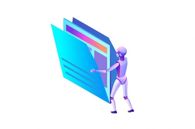 Analisi dati, file e cartelle, robot in movimento documenti