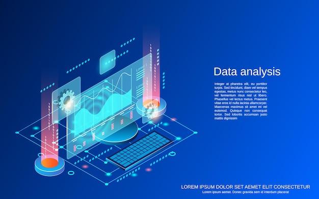 Illustrazione di concetto di vettore isometrico piatto 3d di analisi dei dati