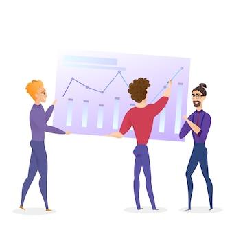 Analisi dei dati grath businessman vector character