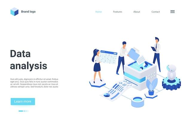 Pagina di destinazione isometrica di analisi dei dati, analisti 3d che lavorano al report di statistiche finanziarie