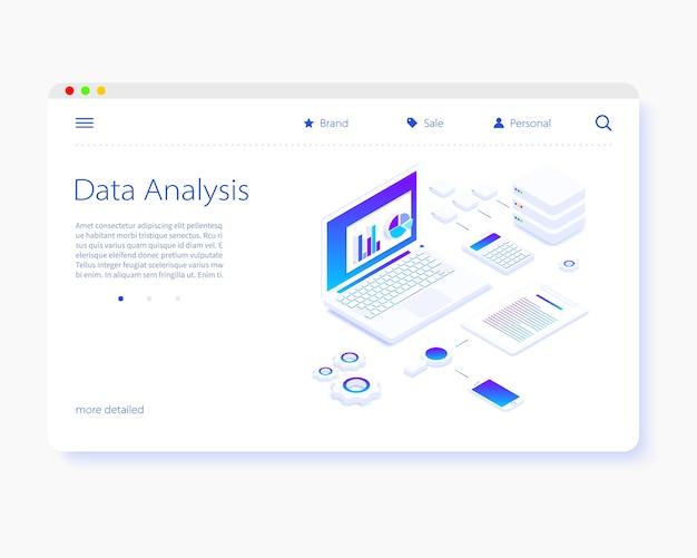 Modello di pagina di destinazione per l'analisi dei dati