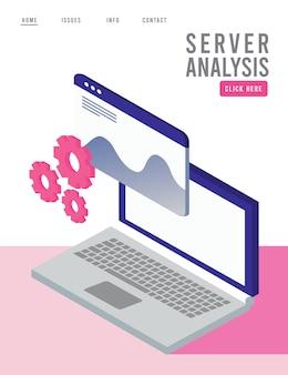 Tecnologia di analisi dei dati con laptop e modello di pagina web.