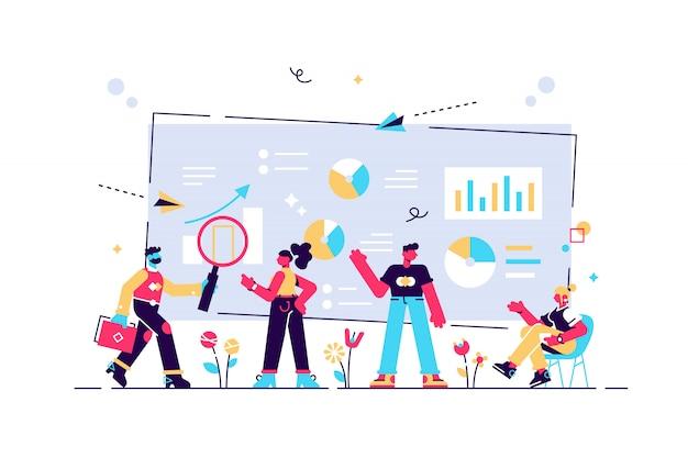 Analisi dei dati, analisi dei siti web, affari, gestione del flusso di lavoro, gli impiegati stanno studiando l'infografica, le persone lavorano in team, gli analisti lavorano, l'illustrazione, lo strumento semplice, il lavoro di squadra.