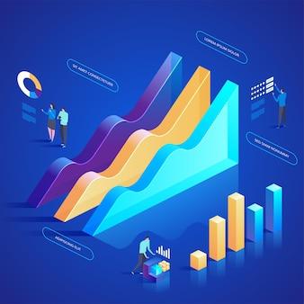Analisi dei dati per sito web e sito web mobile. facile da modificare e personalizzare. illustrazione di concetto isometrico di design moderno