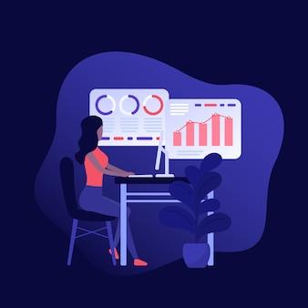 Analisi dei dati, ragazza che lavora con i dati aziendali,