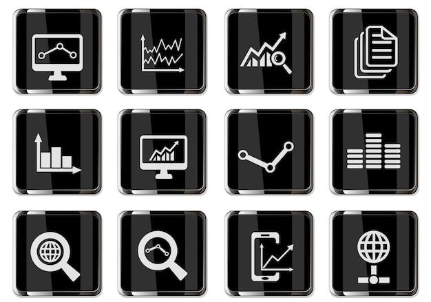 Pittogrammi di analisi dei dati nei pulsanti cromati neri. set di icone per il design dell'interfaccia utente