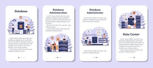 Set di banner per applicazioni mobili per amministratori di database