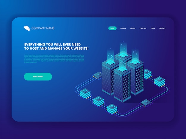Database del server di hosting di connessione al computer data center cloud.