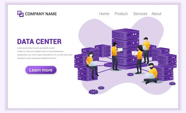 Concetto del centro dati con le persone che lavorano al computer portatile