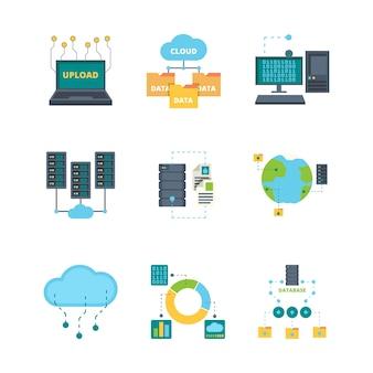 Icona del data center. raccolta di simboli piatti di vettore di rete di computer basi dati di gestione della sicurezza della tecnologia cloud. server cloud di dati di illustrazione, database di rete di archiviazione