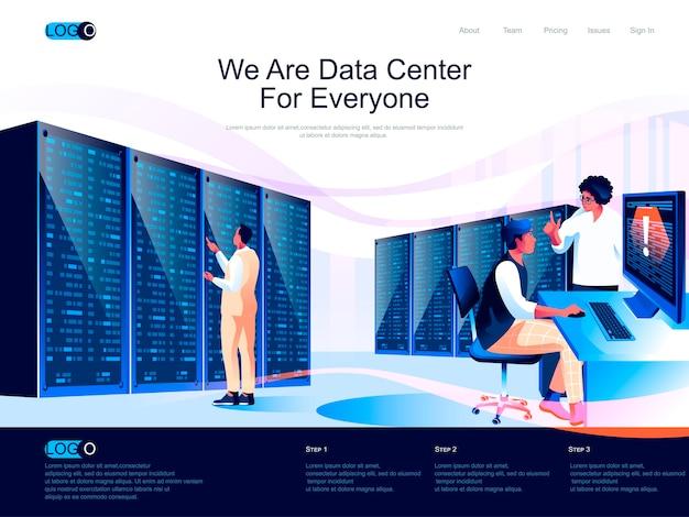 Pagina di destinazione isometrica del data center con situazione di caratteri piatti