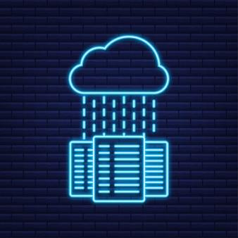 Banca dati. icona al neon. banner concetto di servizio mainframe, rack server. stanza del server. illustrazione vettoriale.