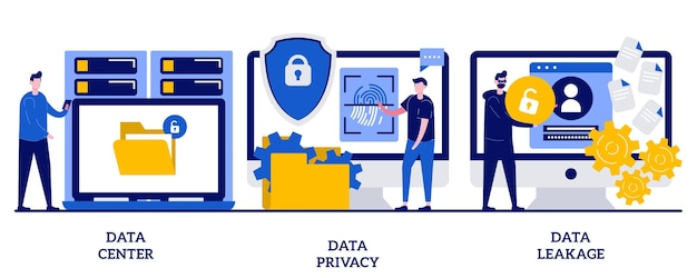 Centro dati, privacy e concetto di perdite con persone minuscole. set di privacy su internet. sistema informatico, archiviazione remota, rete di database, software di sicurezza, hacker.