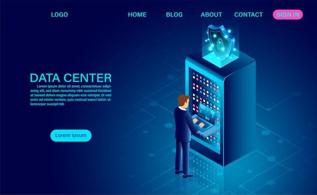 Sala server del data center e elaborazione di grandi quantità di dati protezione del concetto di sicurezza dei dati. informazione digitale. isometrico.