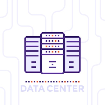 Centro dati, illustrazione vettoriale della sala server