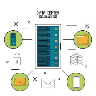 Servizio di data center con server rack e icone in giro