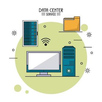 Servizio di data center con rack server e server e monitor e cartella