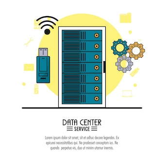 Servizio di data center con server rack e memoria e strumenti usb