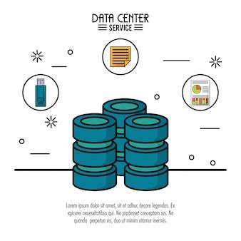 Servizio di data center con server e file di memoria usb e informazioni di archiviazione