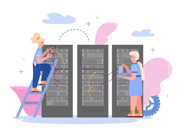 Data center con dipendenti che mantengono il server di hosting