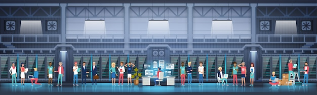 Data center con server e personale di hosting
