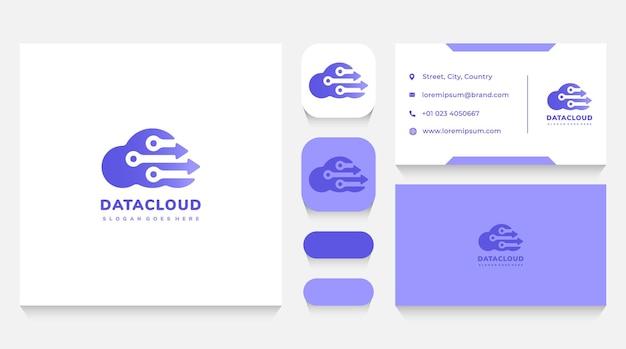 Modello e biglietto da visita del logo della tecnologia e del cloud di dati