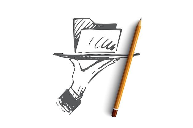 Dati, digitale, informazione, tecnologia, concetto di analisi. cartella dati disegnati a mano su uno schizzo di concetto di piatto.