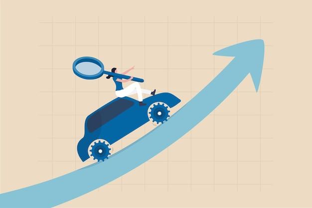 Marketing guidato dai dati che utilizza le informazioni tecnologiche per guidare la vendita o la campagna pubblicitaria, il monitoraggio del concetto di analisi del comportamento degli utenti, il marketing delle donne tiene la lente d'ingrandimento sul grafico di crescita dell'auto guidato dai dati.