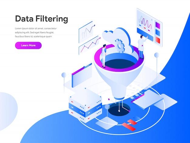 Filtraggio dei dati isometrico per la pagina del sito web