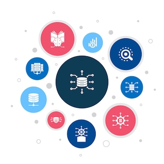 Integrazione dei dati infografica 10 passaggi bubble design.database, data scientist, analisi, icone semplici di apprendimento automatico