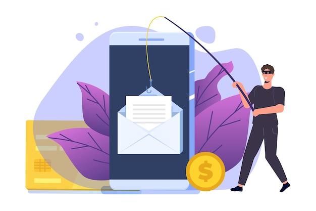 Phishing di dati, hacking truffa online sul concetto di computer portatile. attacco hacker e concetto di sicurezza web. pesca tramite e-mail, busta e amo da pesca. ladro informatico.