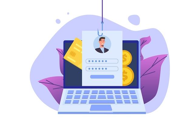 Phishing di dati, hacking truffa online sul concetto di computer portatile.