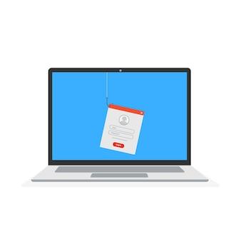 Concetto di truffa online di hacking di dati phishing pesca dai dati dell'utente
