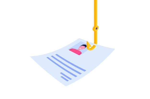 Isometrica di phishing dei dati, concetto di truffa online di hacking. pesca tramite e-mail. ladro informatico.