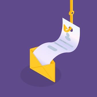 Dati phishing isometrici, hacking truffa online. pesca via email, busta e amo da pesca. ladro informatico. illustrazione vettoriale