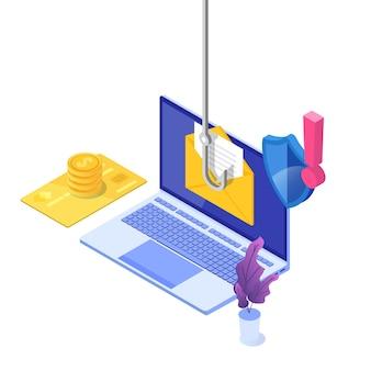 Dati phishing isometrico, hacking truffa online sul concetto di laptop. pesca tramite e-mail. ladro informatico.