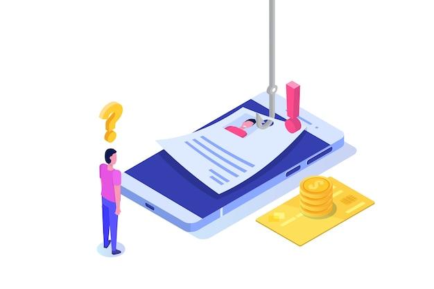Dati phishing isometrico, hacking truffa online sul concetto di smartphone. pesca tramite e-mail. ladro informatico.