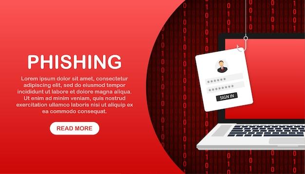 Phishing di dati con illustrazione del gancio di pesca