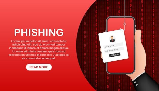 Phishing di dati con amo da pesca, telefono cellulare, sicurezza internet