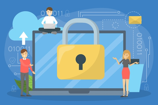 Concetto di privacy dei dati. idea di sicurezza e protezione durante l'utilizzo
